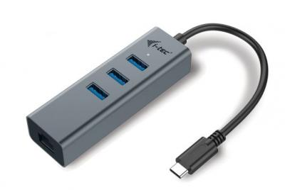 i-tec USB-C Metal HUB 3 Port + Gigabit Ethernet adaptér